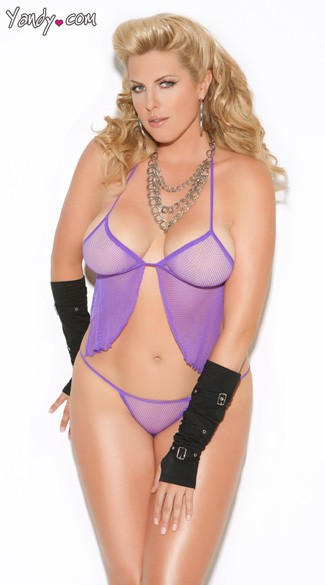 Plus Size Purple Fishnet Cami Top And GString, Purple Plus Size Camisole Set