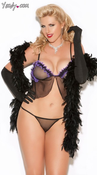 Plus Size Black and Purple Sheer Cami Top And G-String