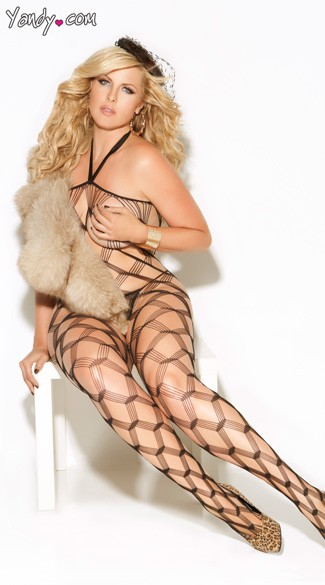 Plus Size Diamond Net Bodystocking