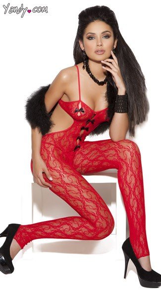 Red Lace Bodystocking, Red Halter Bodystocking