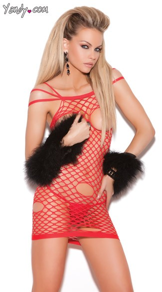 Open Cup Fishnet Chemise, Cupless Chemise