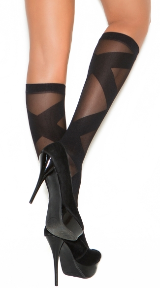 Sheer Knee High With Criss-Cross Pattern