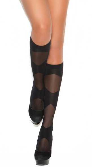 Sheer Knee High With Criss-Cross Pattern, Sheer Knee High Stocks, Block Knee High Stockings
