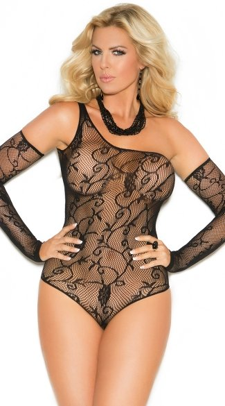 Plus Size Floral One Shoulder Fishnet Teddy, Lace Teddy, Fishnet Teddy