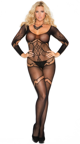 Plus Size Long Sleeve Crochet Bodystocking, Plus Size Bodystocking, Crotchless Bodystocking