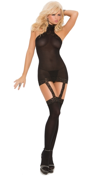 High Neck Mesh Garter Chemise, Halter Chemise and Stockings