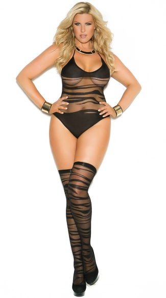 Plus Size Wave Patterned Teddy with Matching Stockings, Plus Size Sheer Teddy, Plus Size Teddy with Stockings