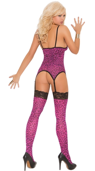 Hot Pink Cheetah Garter Cami Set