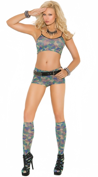 Camouflage Cami Shorts and Knee Highs Set, Camo Set, Camouflage Set