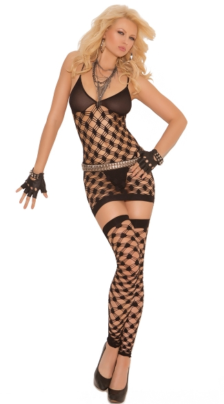 Plus Size Net Dress, G-String and Thigh Highs, Sexy Mesh Plus Size Dress Set