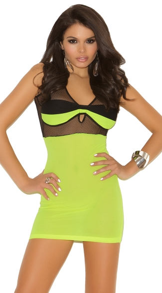 Opaque and Fishnet Neon Mini Dress, Sexy Banded Fishnet Mini Dress