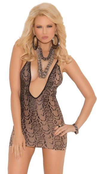 Low Cut Snakeskin Chemise, Low Cut Chemise, Snake Skin Chemise