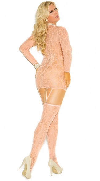 Plus Size Long Sleeve Lace Chemise and Matching Stockings
