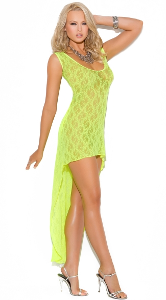 Long Lime Lace Chemise, Green Lace Lingerie
