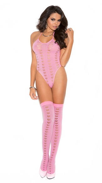 Love Me Pink Teddy and Stockings, Pink Heart Teddy, Teddy and Stockings Set