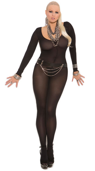 Plus Size Opaque Long Sleeve Bodystocking, Opaque Body Stocking