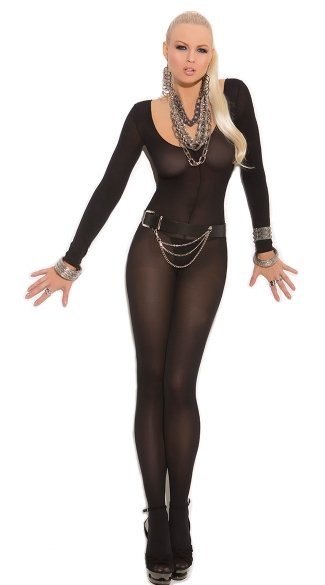 Long Sleeve Bodystocking, Opaque Bodystocking, Long Sleeve Crotchless Bodysuit, Opaque Crotchless Onesie
