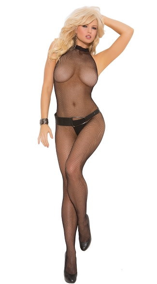 Fishnet Halter Bodystocking, Halter Top Fishnet Bodystocking, Bodystocking with Open Crotch, Open Crotch Halter Bodystocking, Crotchless Halter Top Bodystocking