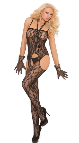 Lace Suspender Bodystocking, Lace Bodystocking with Suspenders, Open Crotch Lace Bodystocking with Suspenders