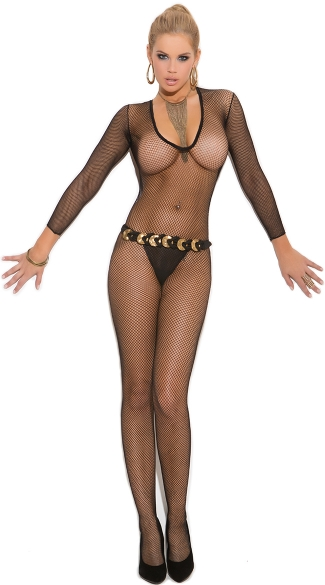 Plus Size Deep V Fishnet Bodystocking, Plus Size Long Sleeve Net Bodystocking