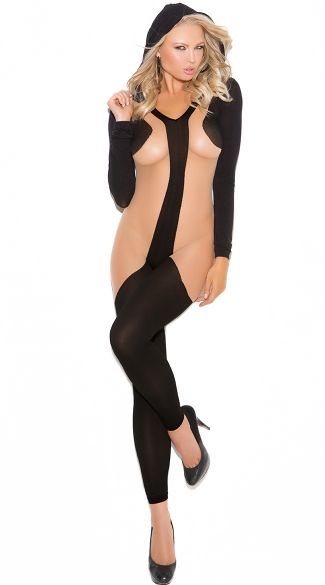 Black and Nude Illusion Bodystocking with Hood