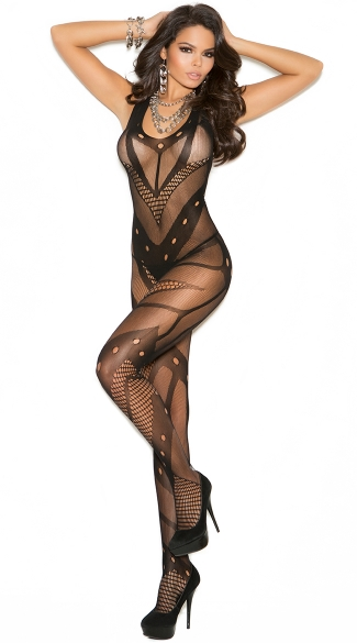 Seamless Net Crochet Bodystocking, Fishnet and Mesh Bodystocking, Patterned Bodystocking