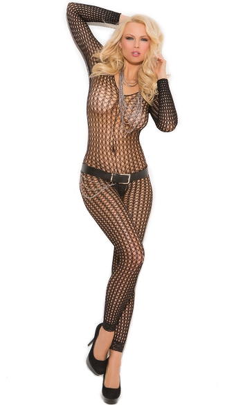 Long Sleeve Crochet Footless Bodystocking