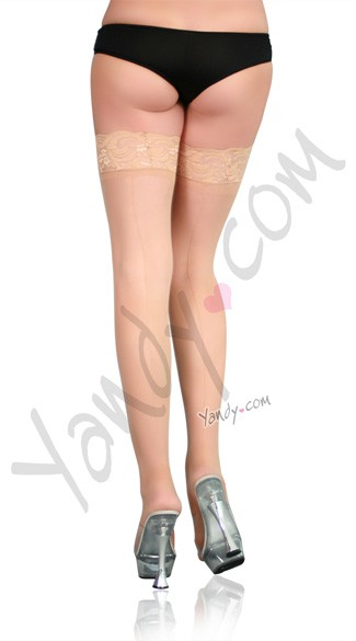 Plus Size Lace Top Backseam Thigh High