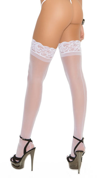 Lace Top Backseam Thigh High