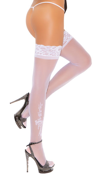 Lace Top Thigh High with Applique, Thigh Highs with Applique, Lace Top Thigh High Stockings