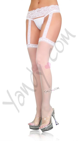 Sheer Thigh Highs with Lace Garterbelt