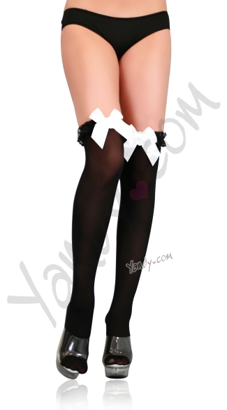 Ruffle Thigh Highs with Bow, Ruffle Thigh High Stockings with Bow, Thigh High Stockings with Ruffle