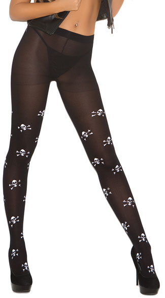 Opaque Skull Pantyhose, Skull Print Costume Stockings