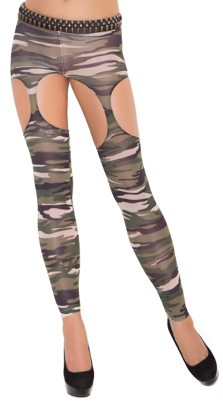 Camouflage Garter Pantyhose, Camouflage Leggings With Garter Cut Outs