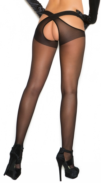 Plus Size Sheer Criss Cross Suspender Pantyhose