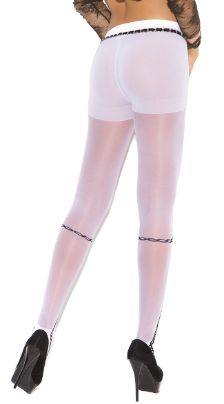 White Faux Lace Up Pantyhose