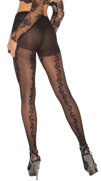 Pantyhose with Vine Detail