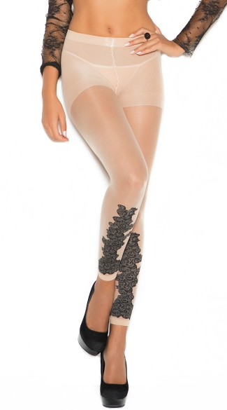 Sheer Leggings with Floral Design