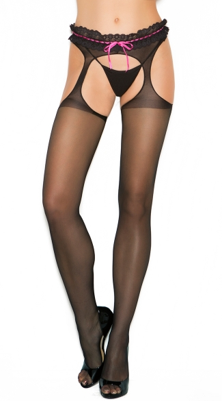 Plus Size Sheer Suspender Pantyhose