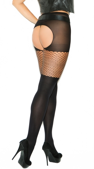 Plus Size Crotchless Mesh and Fishnet Pantyhose