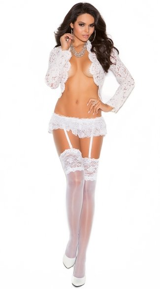 Sheer White Thigh Highs with Lace Top