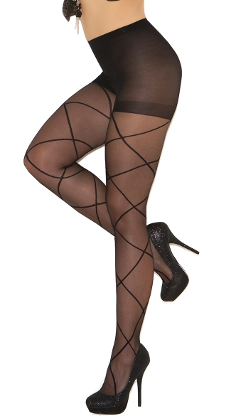 Plus Size Sheer Pantyhose with Criss Cross Detail, Sheer Crisscross Pantyhose