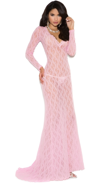 Elegant Long Sleeve Lacy Gown