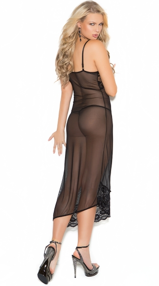 Asymmetrical Sheer Lace Nightie