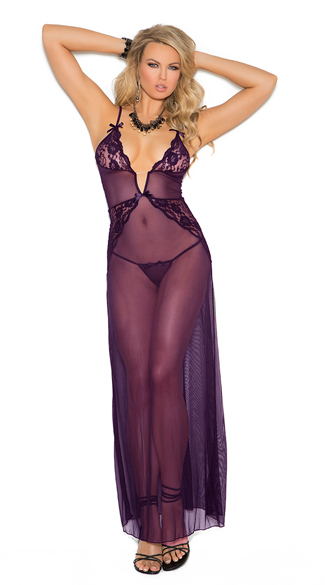 Lace and Mesh Lingerie Gown, Purple Lingerie Gown, Purple Lace and Mesh Gown