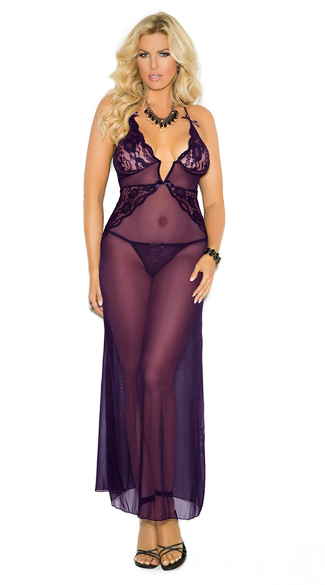 Plus Size Lace and Mesh Lingerie Gown, Plus Size Purple Lingerie Gown, Plus Size Purple Lace and Mesh Gown