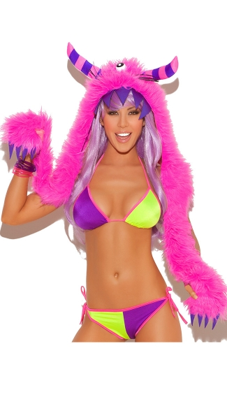 Pink Furry Monster Hood, Fur Hood, Pink and Purple Monster Hood