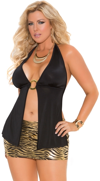 Plus Size Open Halter Top, Plus Size Flyaway Top