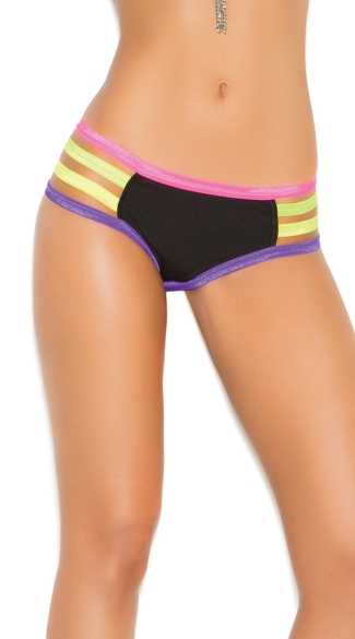 Strappy Neon Trim Panty, Colorful Hipster Panties, Sexy Neon Underwear