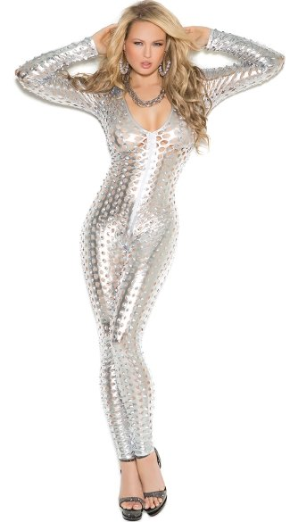 Cutout Metallic Bodystocking, Sexy Long Sleeve Silver Jumpsuit, Shiny Full Bodysuit